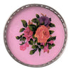 Vintage Pink Roses Silver Plate Rim Coaster Close Up | The Hour