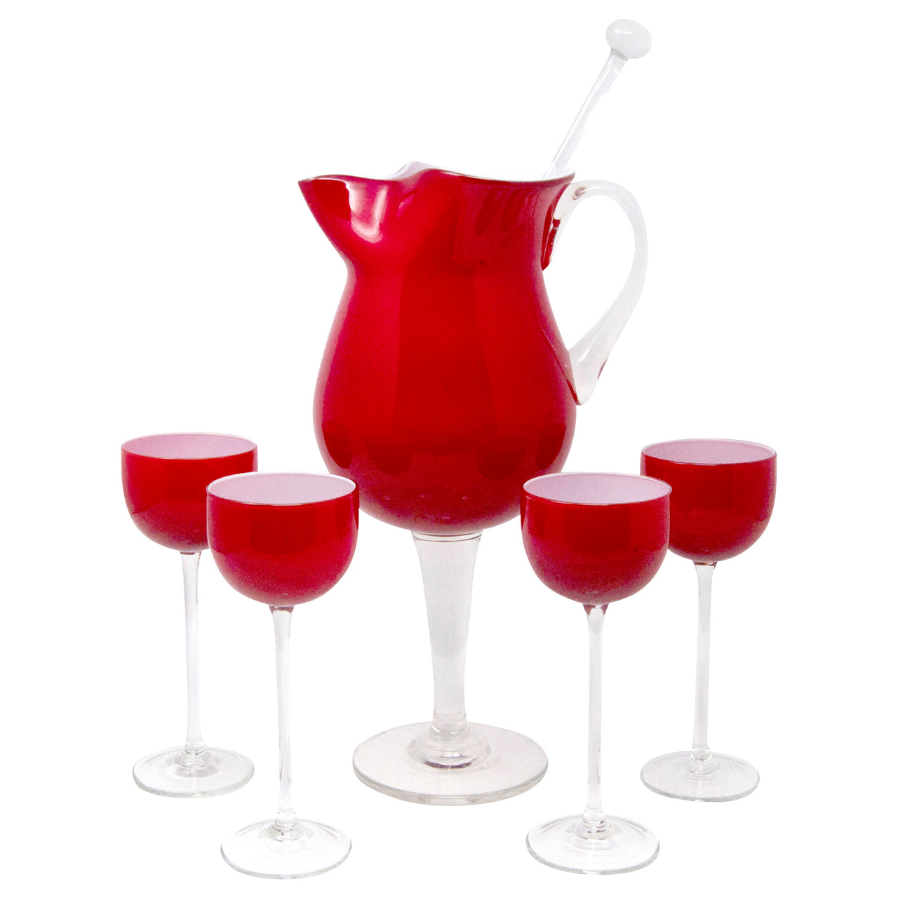 Vintage Carlo Moretti Red Cased Glass Cocktail Pitcher Set | The Hour Shop