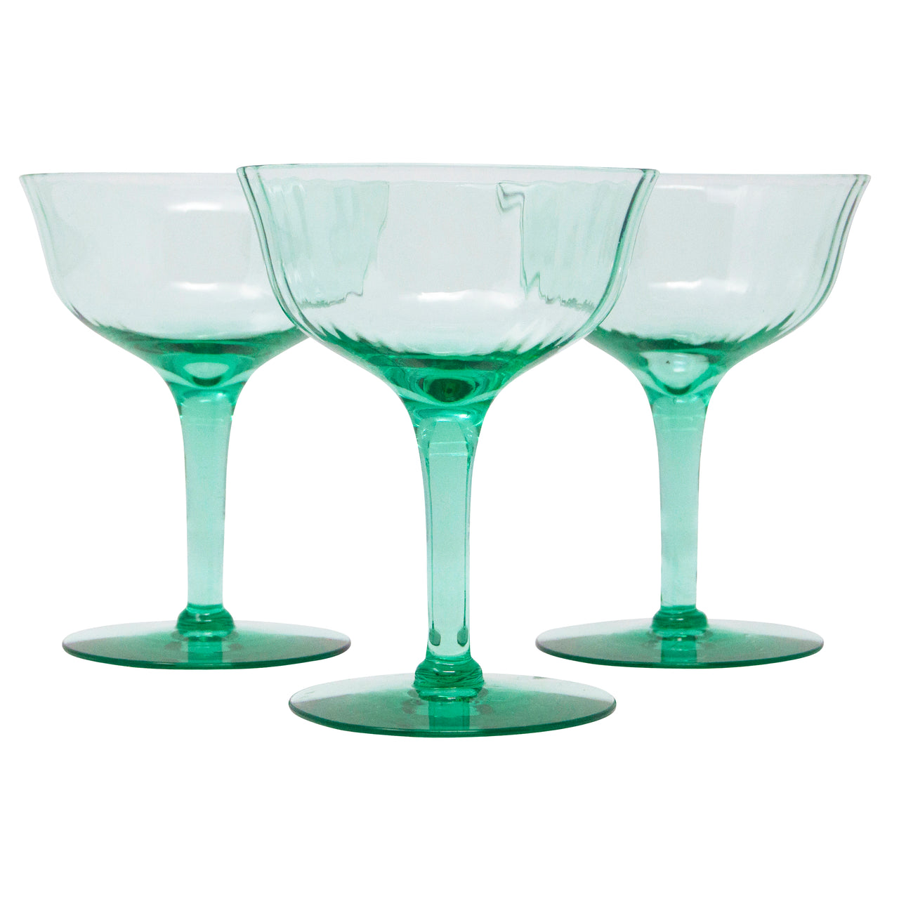Vintage Teal Green Paneled Coupe Glasses | The Hour Shop