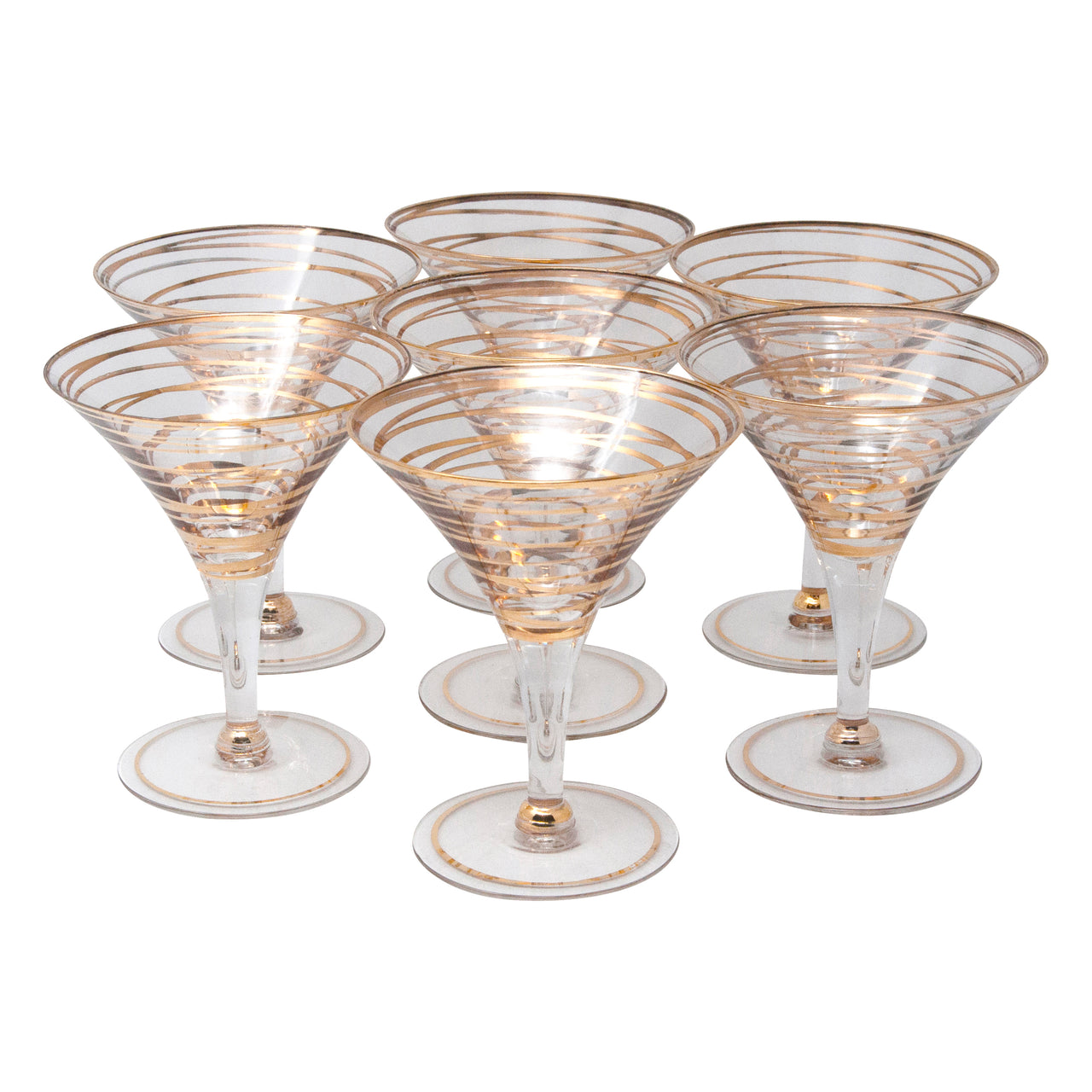Vintage Gold Swirl Bands Martini Glasses | The Hour Shop