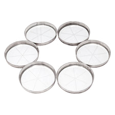Vintage Set of 6 Sterling Silver Rim Etched Glass Coasters | The Hour