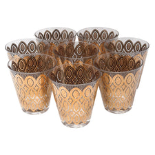 Vintage Gold Pointed Oval Double Old Fashioned Glasses | The Hour Shop