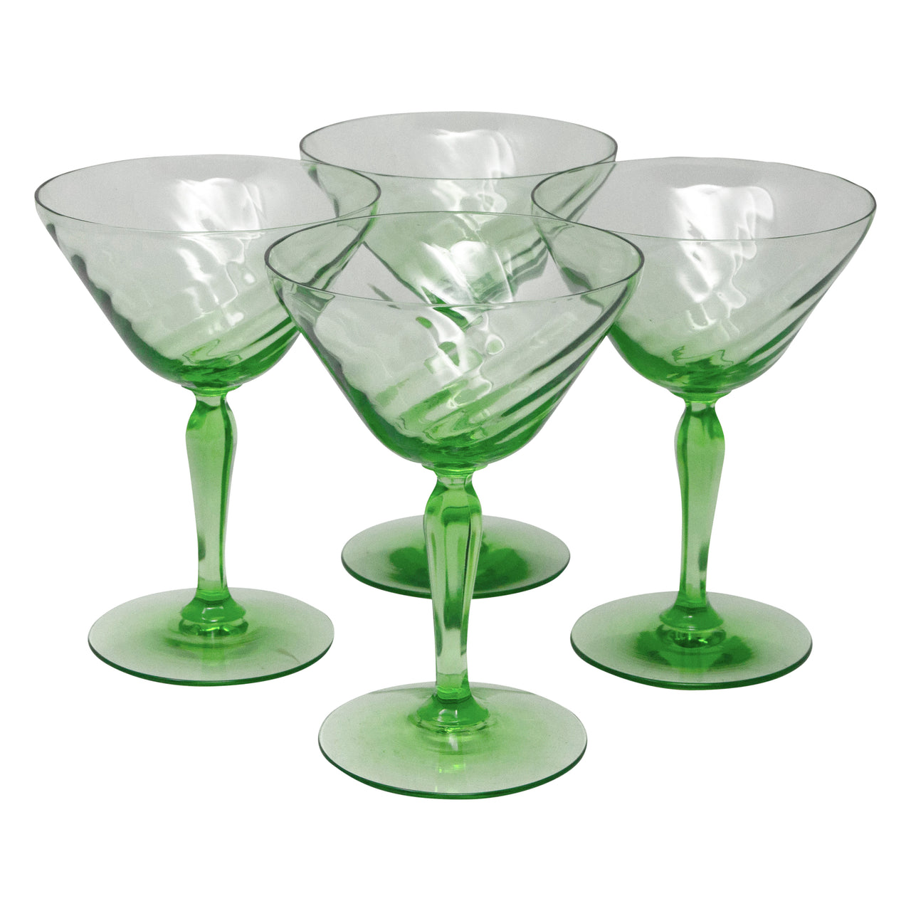 Vintage Green Vaseline Swirl Cocktail Glasses | The Hour Shop
