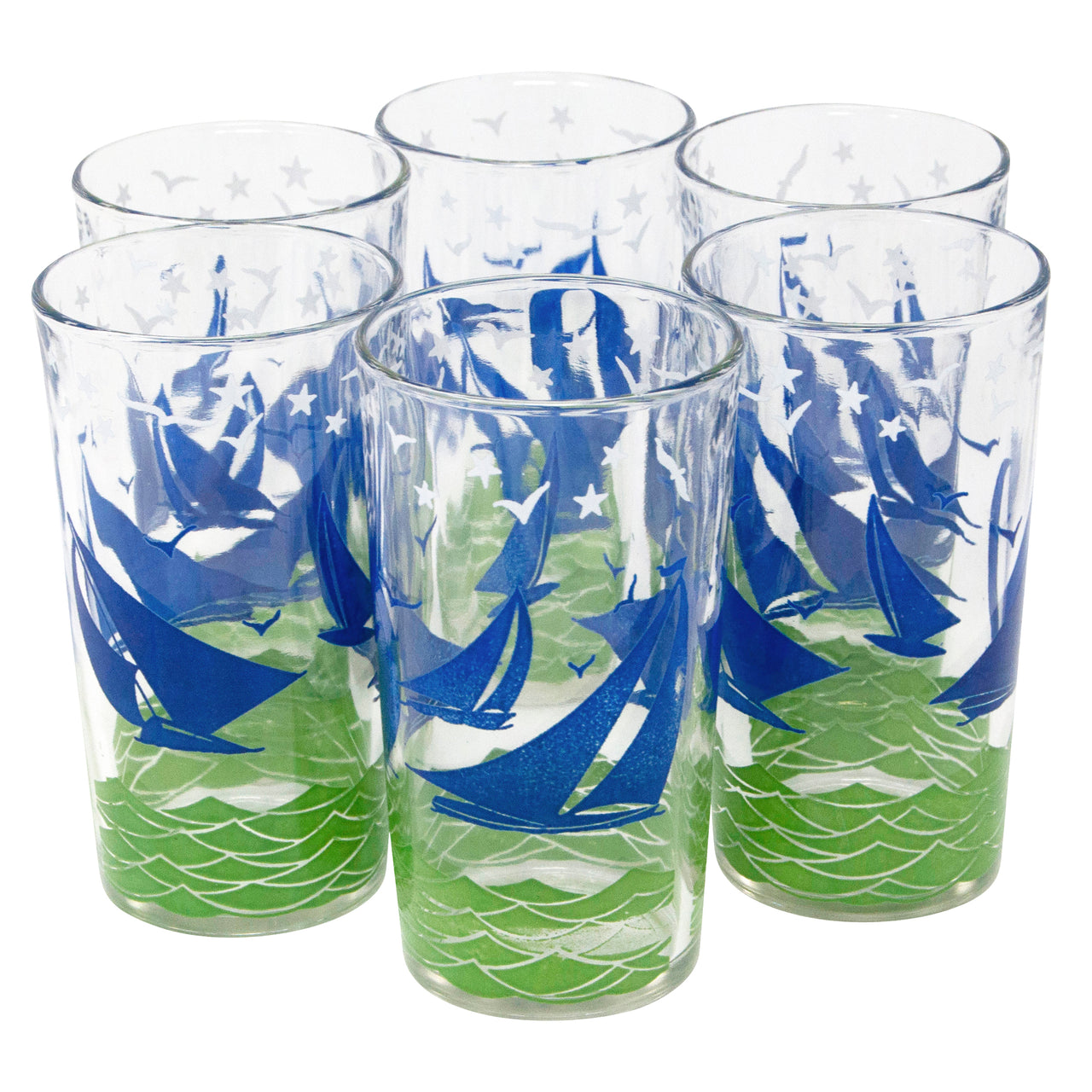 Blue and Green Sailboat Tumblers | The Hour Shop