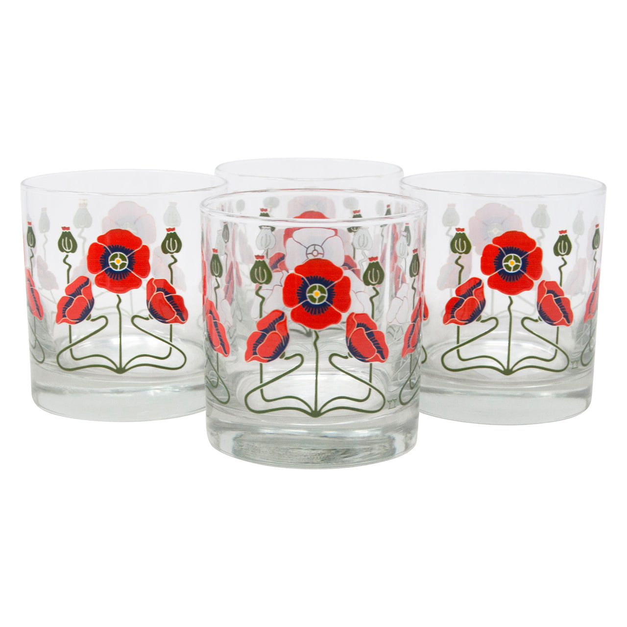 The Modern Home Bar Red Poppy Rocks Glasses Front | The Hour Shop