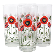 The Modern Home Bar Red Poppy Collins Glasses