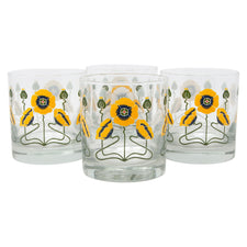 The Modern Home Bar Golden Poppy Rocks Glasses Front | The Hour Shop
