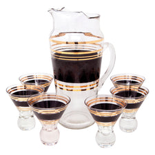 Vintage Black and Gold Band Cocktail Pitcher Set | The Hour Shop