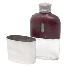 Vintage James Dixon & Sons Leather Glass & Silver Flask | The Hour