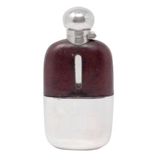 Vintage Walker & Hall Leather, Glass & Silver Plate Flask | The Hour