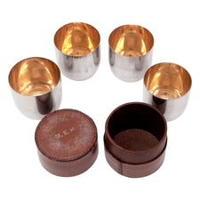 Vintage German Leather Cased 5 Pc. Nesting Shot Glass Set | The Hour