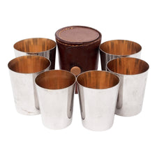 Vintage Leather Cased Nested Gold Interior German Shot Glass Set | The Hour