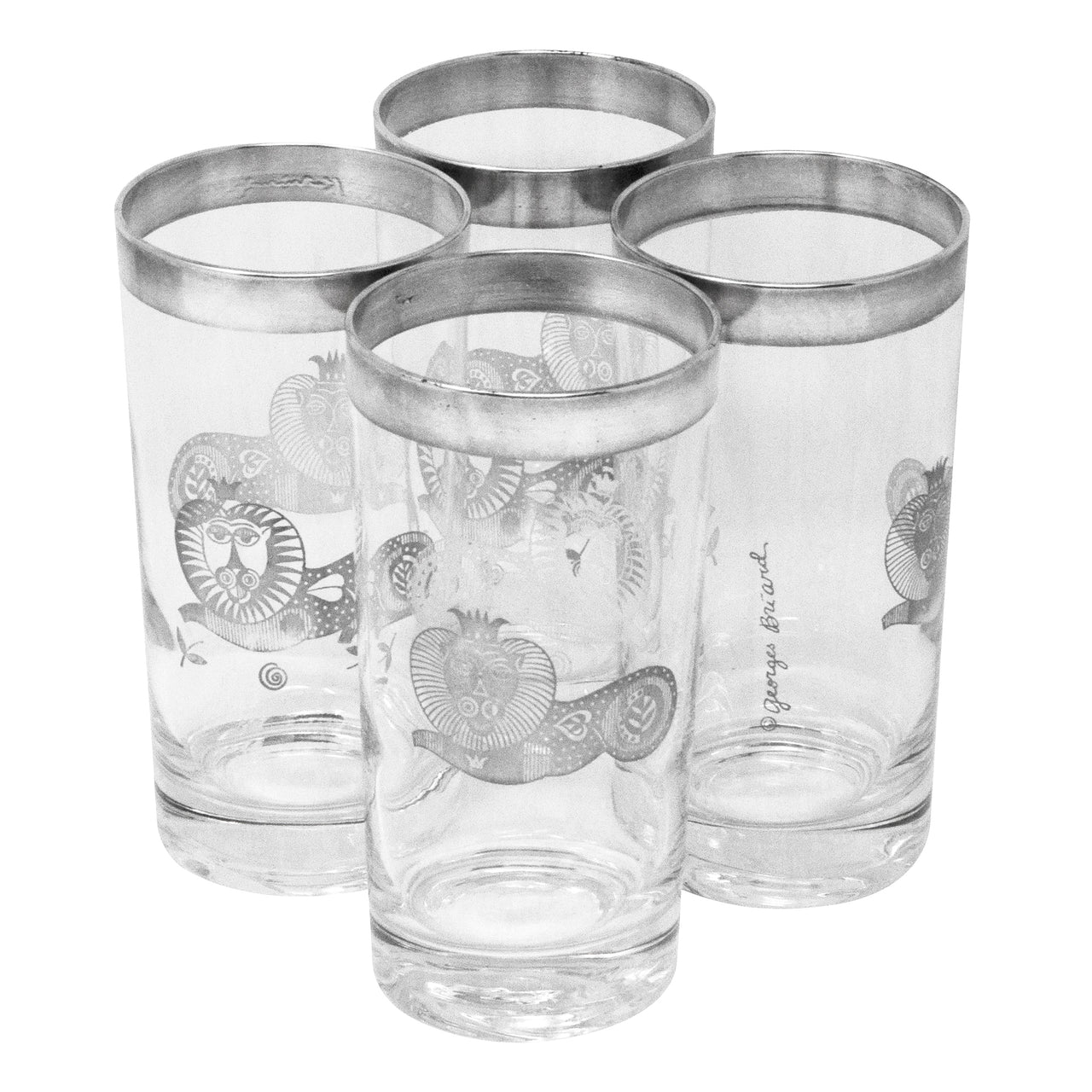 Vintage Georges Briard Sterling Royal Lions Collins Glasses | The Hour Shop
