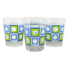 The Modern Home Bar Blue and Green Square Peg Old Fashioned Glasses Front |The Hour Shop