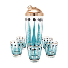Vintage Aqua Black & Gold Cocktail Shaker Set Front | The Hour Shop