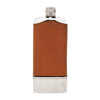 Vintage Brown Leather Wrap Glass Flask & Cup Front | The Hour