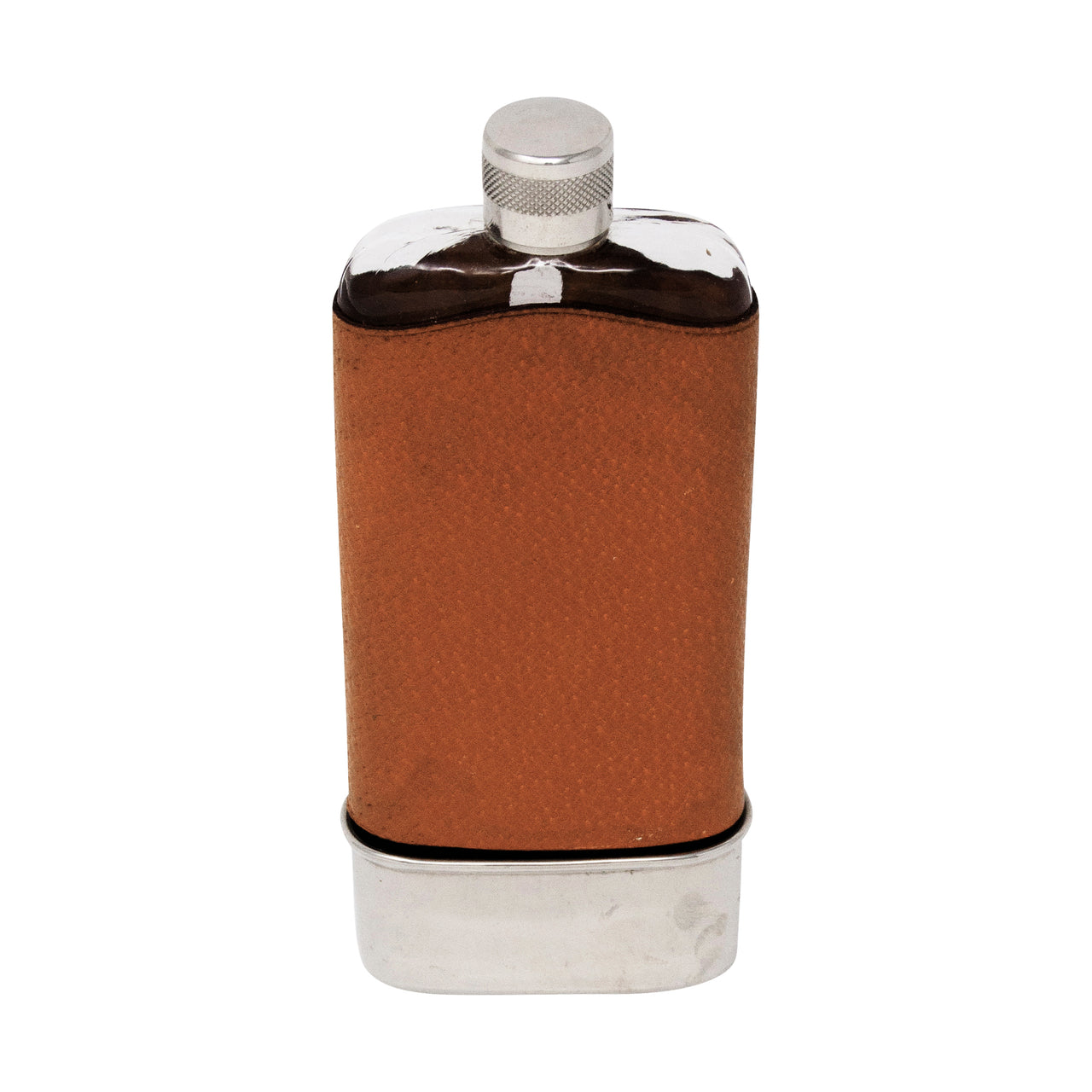Vintage Leather Wrapped Glass 'Thirsty' Flask & Cup | The Hour