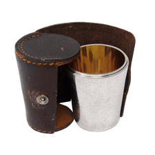 Vintage Leather Cased Gold Wash Interior Nesting Chrome Shot Glass Set | The Hour