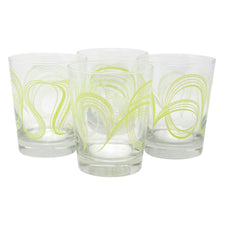 The Modern Home Bar Ribbon Dance Green Old Fashioned Glasses Front | The Hour Shop