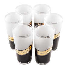 Vintage Culver White, Black, and Gold Collins Glasses | The Hour Shop