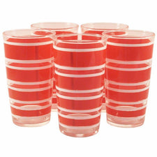 Hazel Atlas Red Stripe Tumblers, The Hour Shop Vintage Cocktail Glasses