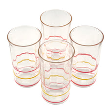 Vintage Red and Yellow Ringed Depression Juice Glasses | The Hour Shop