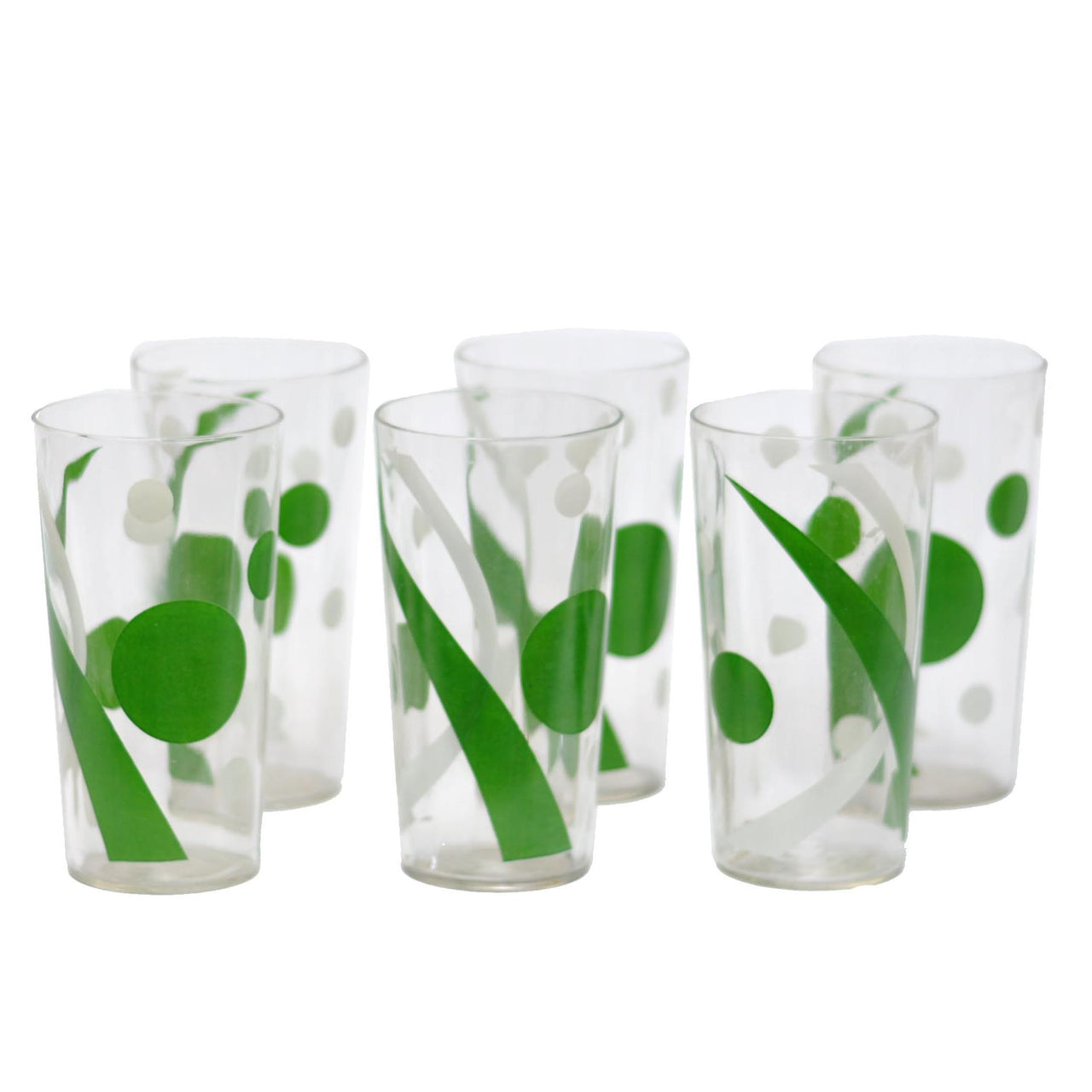 Green & White Art Deco Tumblers | The Hour Shop Vintage