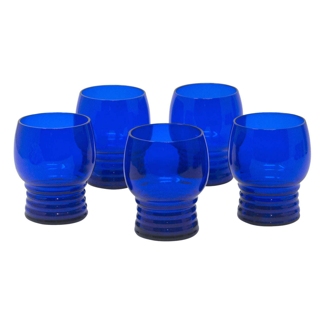 Vintage Art Deco Cobalt Blue Ridged Bottom Small Tumblers | The Hour Shop