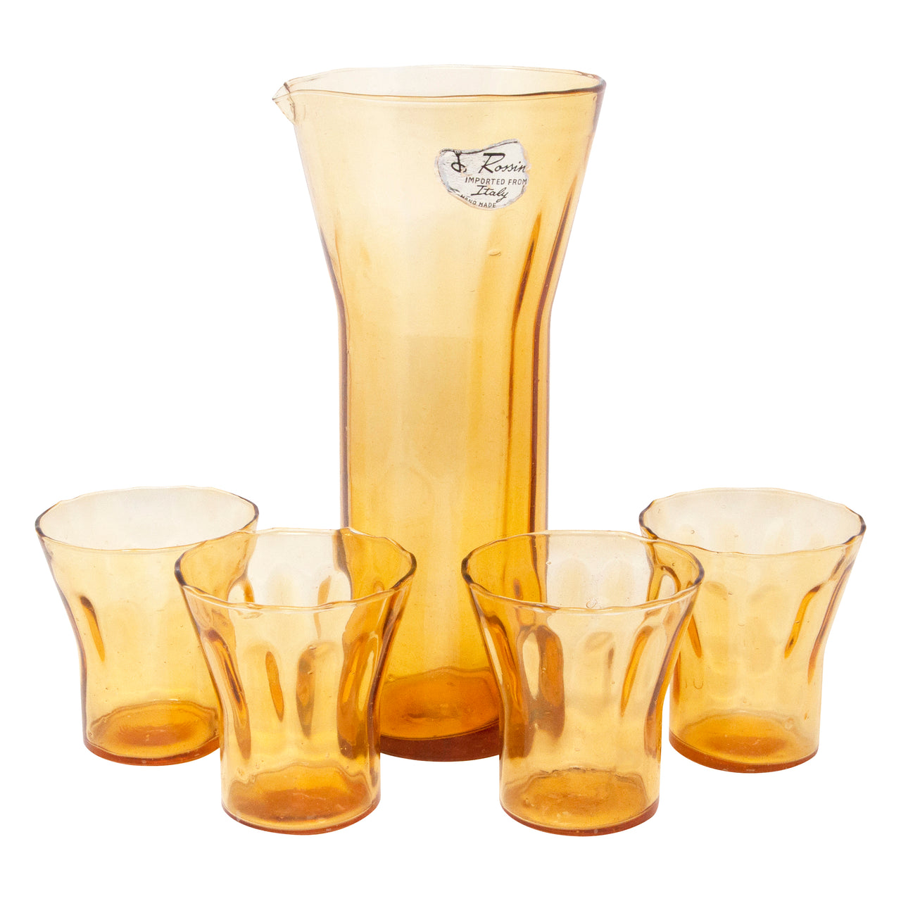 Vintage Italian Rossini Amber Cocktail Pitcher Set | The Hour Shop
