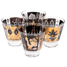 Vintage Black & Gold Rooster Single Old Fashioned Glasses | The Hour Shop
