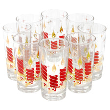 Red & Gold Christmas Candles Collins Glasses