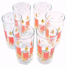 Vintage Red & Gold Candle Christmas Glasses, The Hour