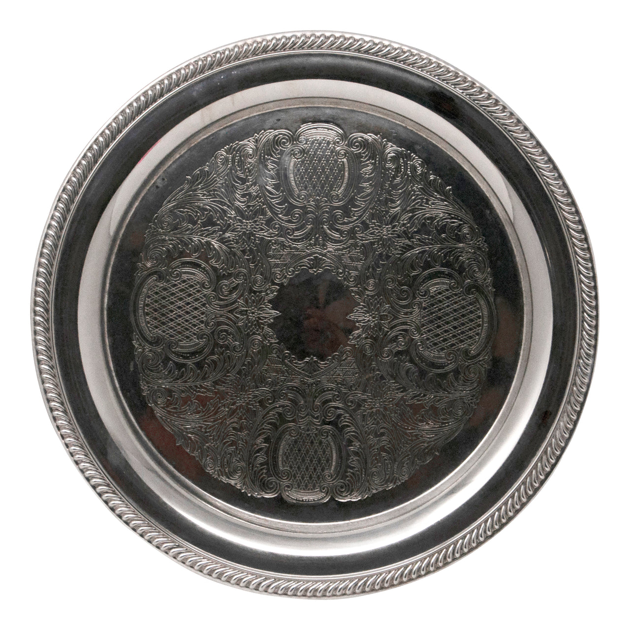 Vintage Engraved Flowers & Scrolls Silver Plate Tray | The Hour Shop