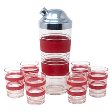 Vintage Red & White Stripe Cocktail Shaker Set | The Hour Shop