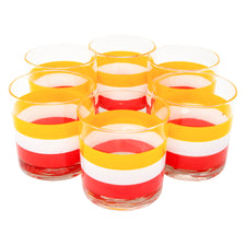 Vintage Georges Briard Cabana Yellow White Orange Rocks Glasses | The Hour Shop