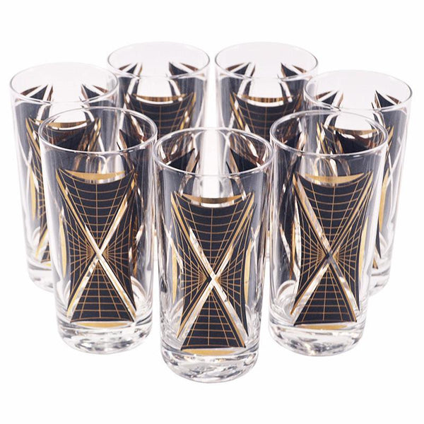 Vintage Black & Gold Graphic Collins Glasses, The Hour
