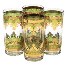 Vintage Georges Briard Carrara Gold Green Collins Glasses | The Hour