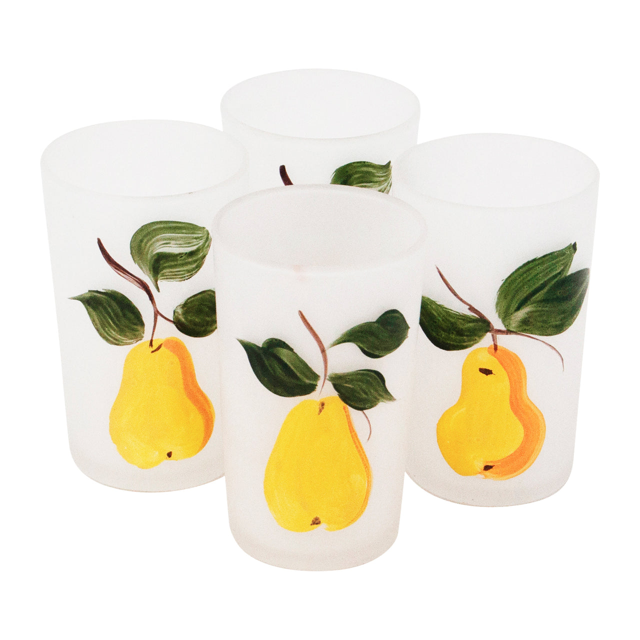 Vintage Mid Century Hand Painted Pears Glasses | The Hour Shop