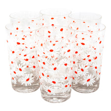 White Daisies Highball Glasses