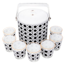 Vintage Georges Briard Black & White Ice Bucket Set Top | The Hour Shop