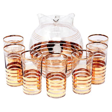 Vintage Gold Bands Round Cocktail Pitcher Set | The Hour Shop