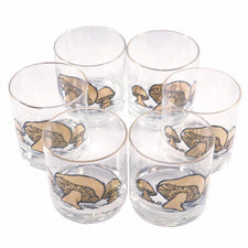 The Hour Shop, Vintage Couroc Gold Mushroom Rocks Glasses