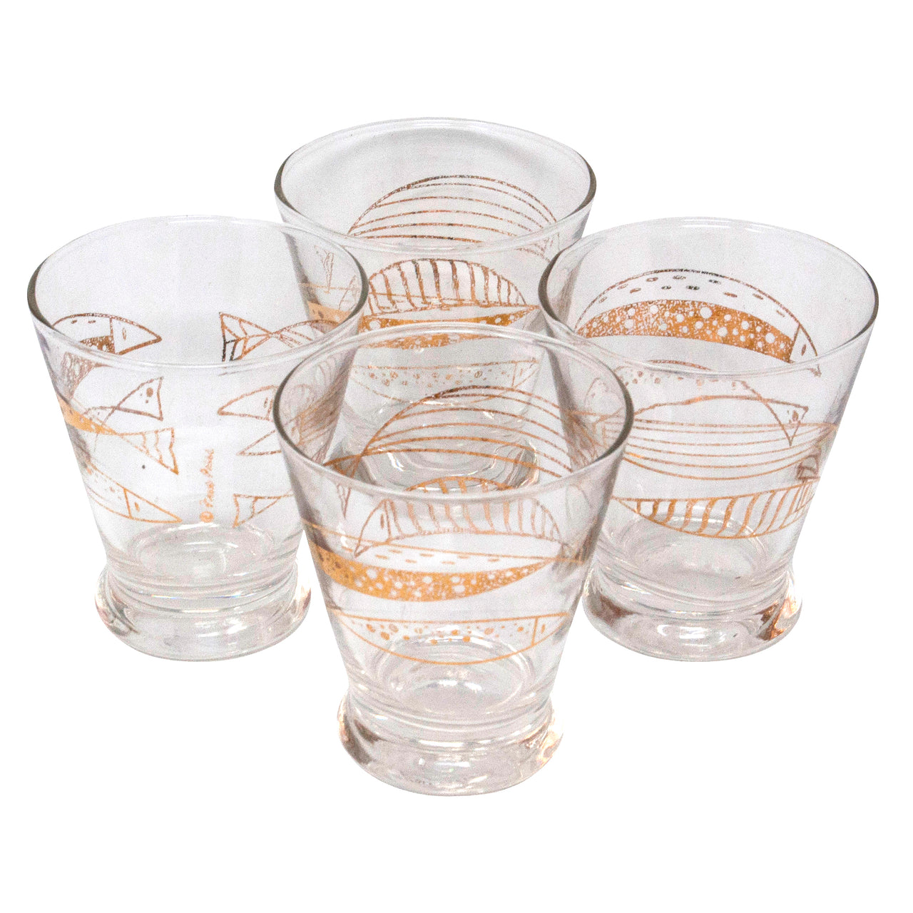 Vintage Fred Press Gold Fish Single Old Fashioned Glasses | The Hour Shop