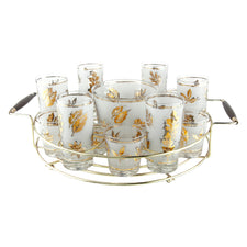 Vintage Libbey Gold Leaf Round Caddy Set | The Hour Shop