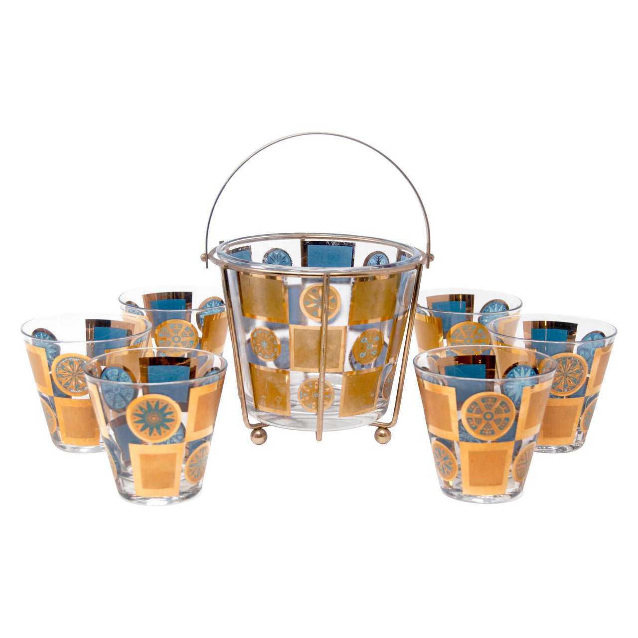 Vintage Gold and Light Blue Snowflakes Cocktail Set | The Hour Shop