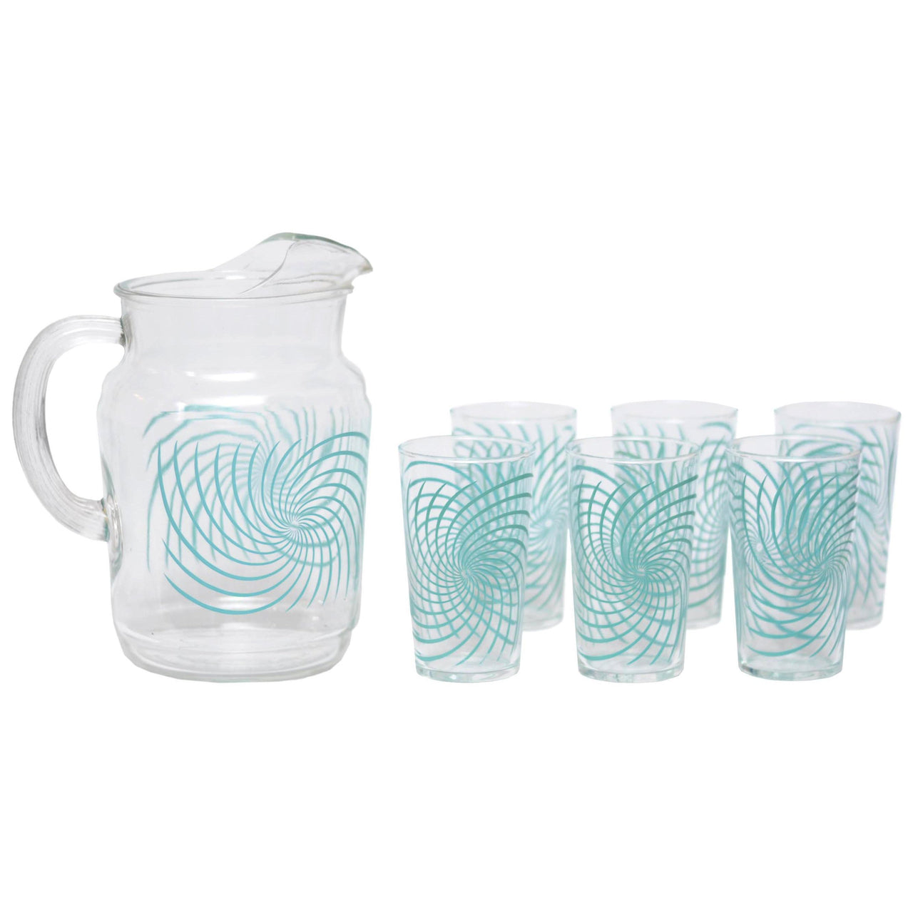 Vintage Federal Glass Turquoise Swirl Pitcher Set, The Hour Shop