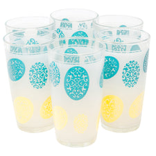Hazel Atlas Yellow and Aqua Tumblers