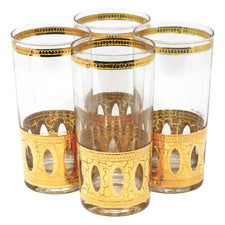 Vintage Culver Antigua Gold Collins Glasses | The Hour