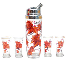 Vintage Hand Painted Autumn Flowers Cocktail Shaker Set | The Hour Shop