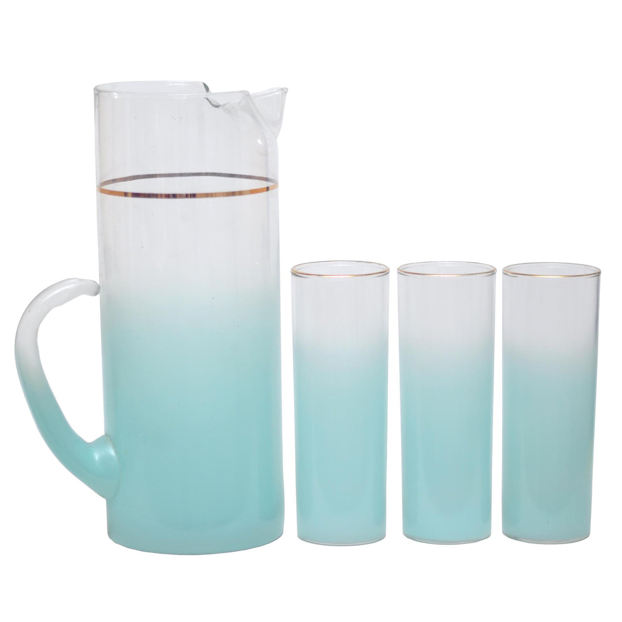 Vintage West Virginia Glass Light Blue Pitcher Set | The Hour